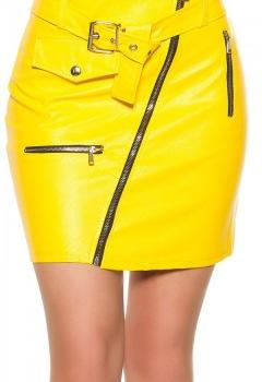 ooKouCla_leatherlook_mini_skirt_zipsbelt__Color_YELLOW_Size_S_0000H0396_GELB_1